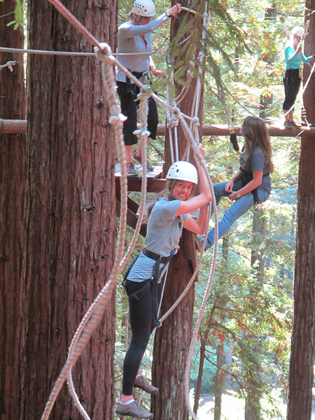 Melinda Conners crossing a rope line among the tree tops.