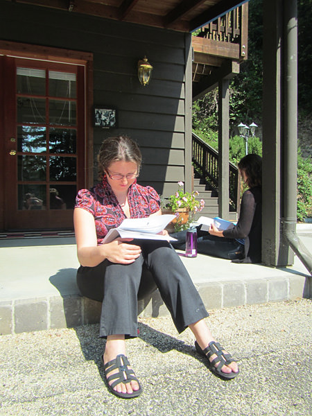 Dr. Rebecca Asch sitting on the porch preparing for her speed interviews